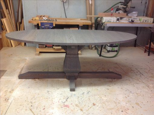 Custom Made Weathered Pedestal Oak Table