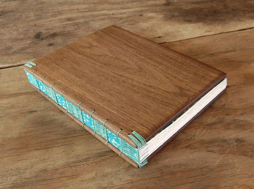Custom Made Black Walnut Wood Guest Book - Rustic Wedding Or Cabin Guest Book Wood Journal