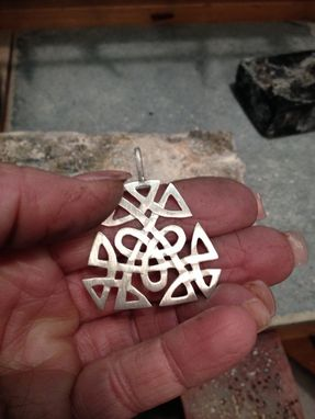 Custom Made Irish Celtic Knot Pendant In Sterling Silver With Leather Cord