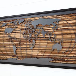 Wood wall art custommade world map artwork made of old barnwood and natural steel 48 by craig forget gumiabroncs Gallery