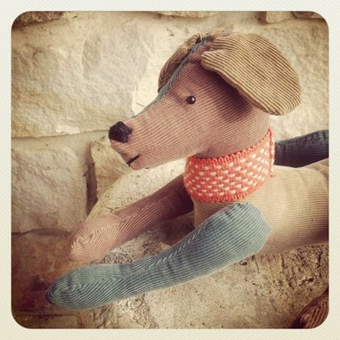 Custom Made Jointed Dog /Made From Up Cycled Corduroy /Vintage Style /Hand Stitched Details