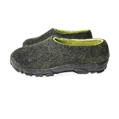 Custom Made Mens Felted Shoes Travel Black Lime