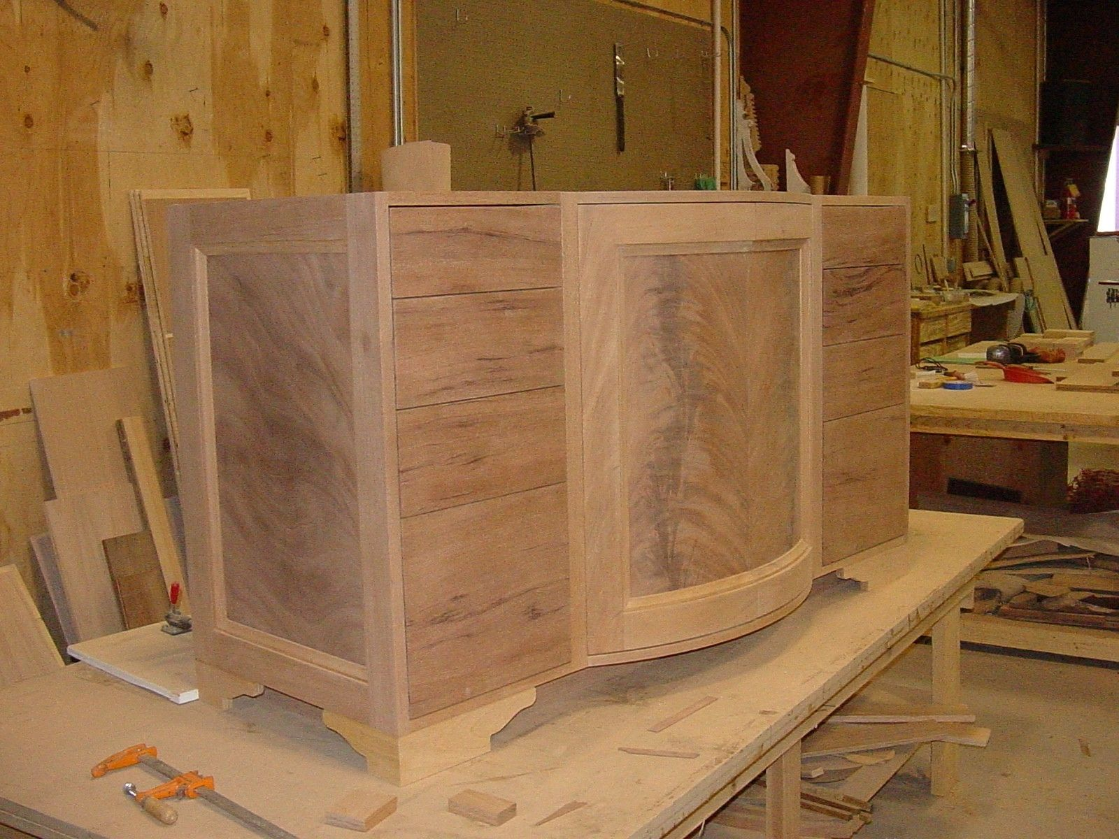 Handmade Crotch Mahogany Radius Door Vanity By Furniture