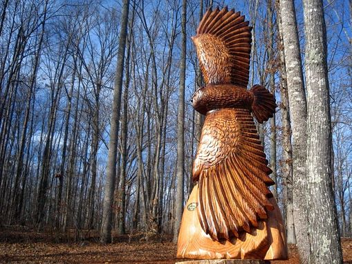 Custom Made Flying Great Horned Owl Wood Sculpture