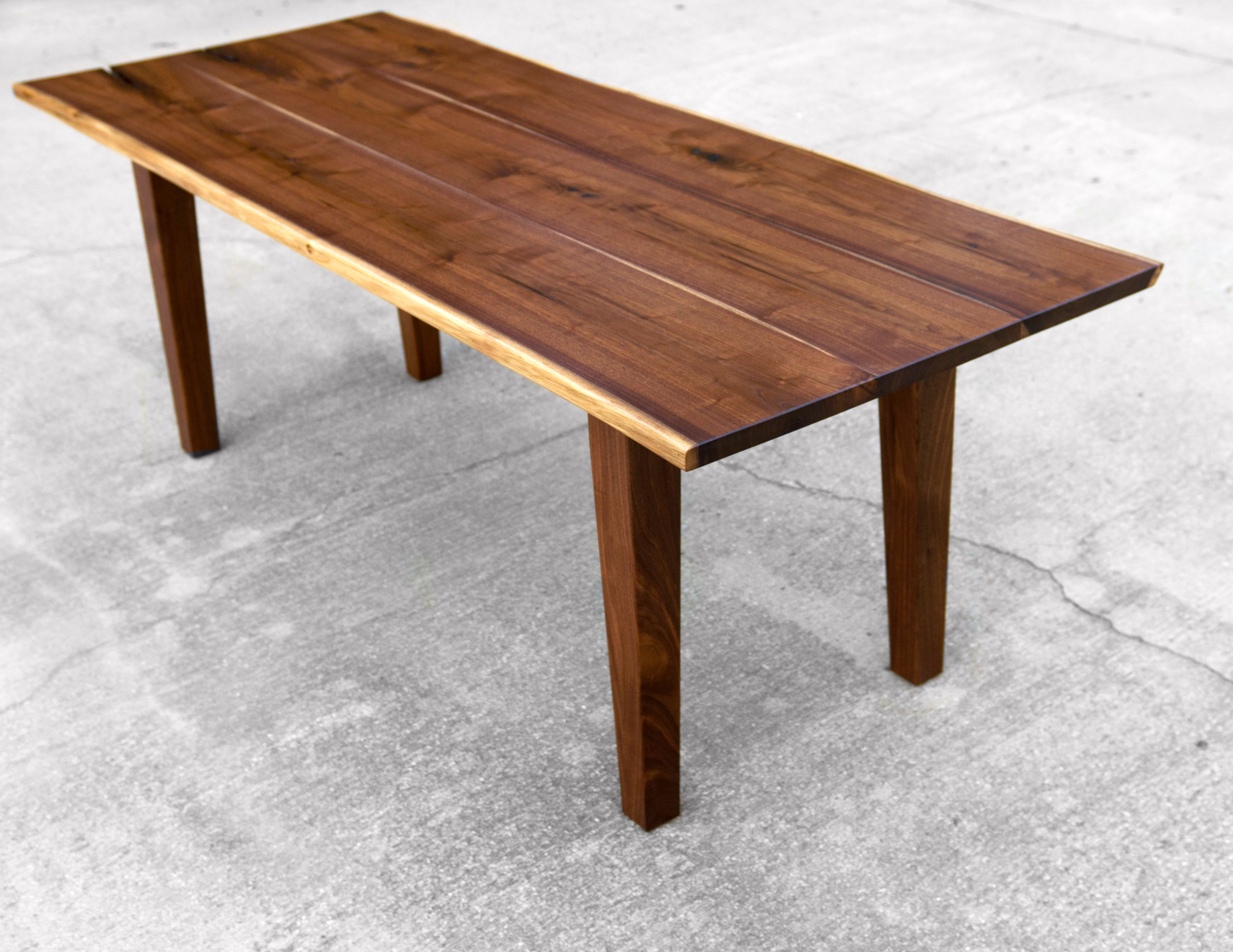 Walnut live edge dining table - Custom Made Walnut Live Edge Dining Table With Tapered Legs
