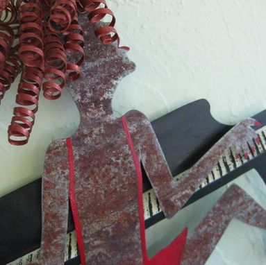 Custom Made Handmade Upcycled Metal Piano Lady In Red Wall Art Sculpture