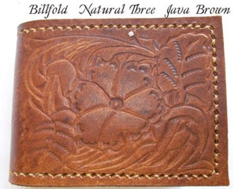 Custom Made Custom Leather Maverick Wallet With Natural 3 Design In Java Brown