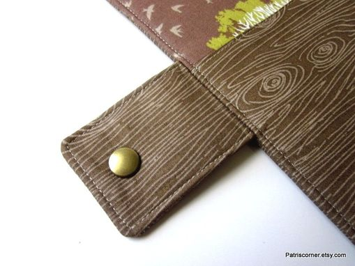 Custom Made Handmade Women Vegan Wallet Brown, Green - White Tree Woodgrain Id Clear Window