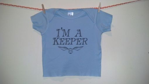 Custom Made Sale Harry Potter Inspired I'M A Keeper And Golden Snitch Shortsleeve Shirt, Blue 12 Months