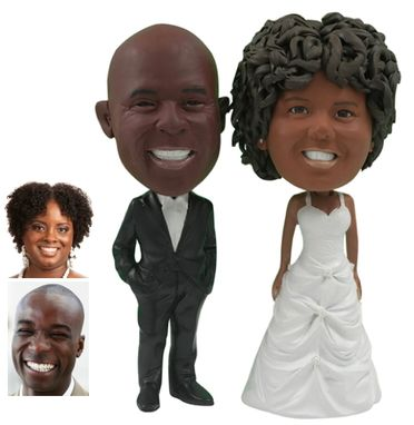 Custom Made Personalized Wedding Cake Topper Of A Couple With Hands In Pockets, A Cake Topper That Looks Like The Bride And Groom