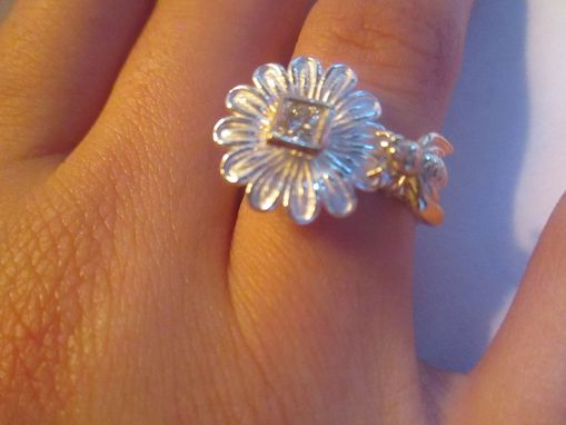Custom Made Honeybee And Daisy Princess Cut Sterling Silver And 14k Gold Engagement Ring