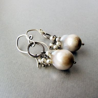 Custom Made Sterling Silver And Flameball Pearl Cluster Earrings