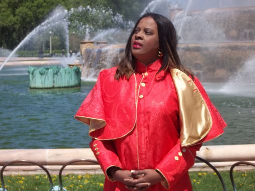 Custom Made Clergy Cloth Shoulder Cape, Red Lined And Pipped In Gold