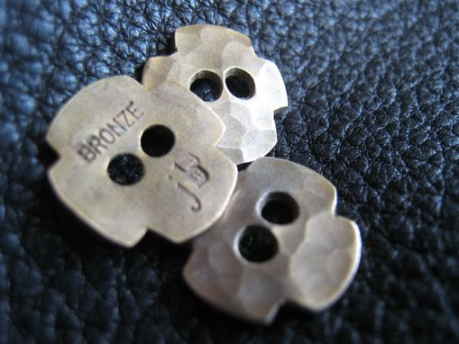 Custom Made Round Cross Solid Bronze Button - Handmade Hand Hammered - Large - 5/8