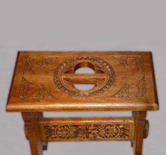 Custom Made Carved Hearth Stool