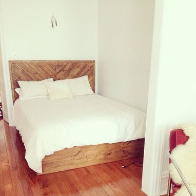 Custom Made Rustic Chevron Style Headboard / Platform Bed