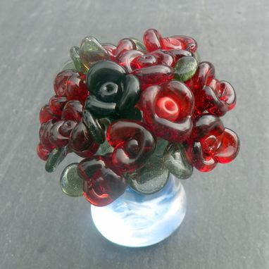 Custom Made Miniature Glass Bouquet Of Red Roses In Glass Vase