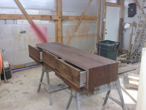 Custom Made Walnut Desk With Three Drawers No Base