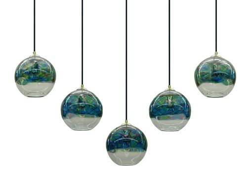 Custom Made ~Ocean~ Gingham Banded Pendant Light, Cluster Or Chandelier