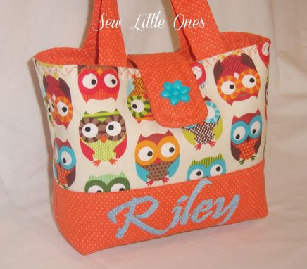 Custom Made Personalize Orange Owl Handbag