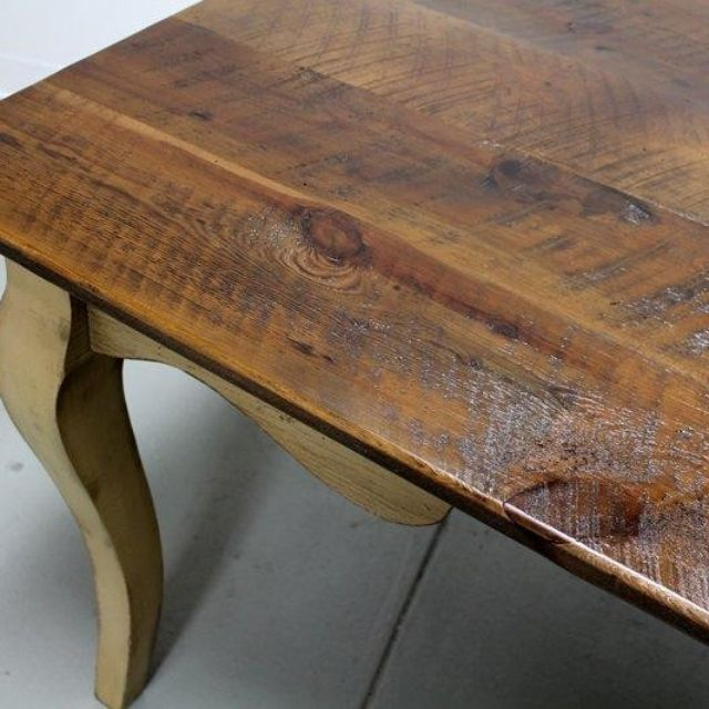 Custom Made French Style Barn Wood Dining Room Table With Cabriole