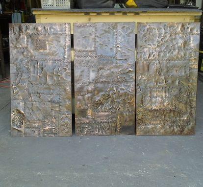 Custom Made Distressed Copper Riveted Panels And Copper Bar Top