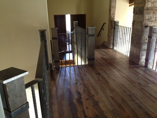 Custom Made Rustic Forged Handrail With Wood Posts