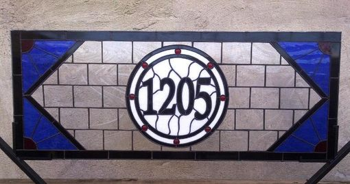 Custom Made Stained Glass Window Panel -- Transom Window With House Number (Am-42)
