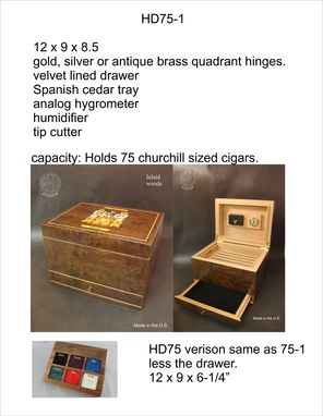 Custom Made Custom Solid Cherry Humidor With Custom Inlay And Free Shipping.