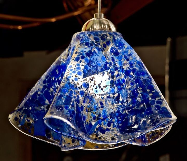 Hand Crafted Pendant Light Fixture By Helen Rudy Glass