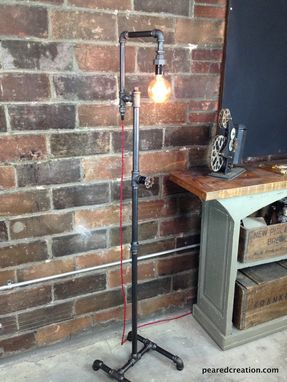 Custom Made Industrial Style Floor Lamp - Bare Edison Bulb