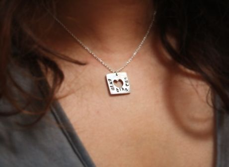 Custom Made Fine Silver - Square Heart Necklace - $48