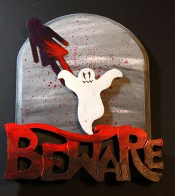 Custom Made Beware Bloody Gothic Halloween Ghost Mixed Media Art Wall Decor