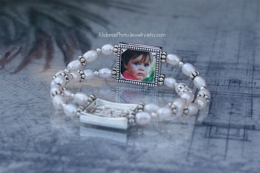 Custom Made Photo Bracelet With Freshwater Pearls And Pewter Beads