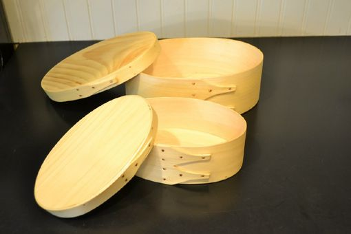 Custom Made Set / Pair Of Nesting Shaker Style Oval Boxes Pine Sale