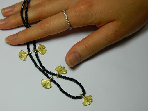 Custom Made 18k Green Gold And Faceted Black Spinel Beads Necklace