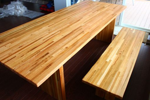Custom Made Salvaged Oak Butcher Block Dining Table