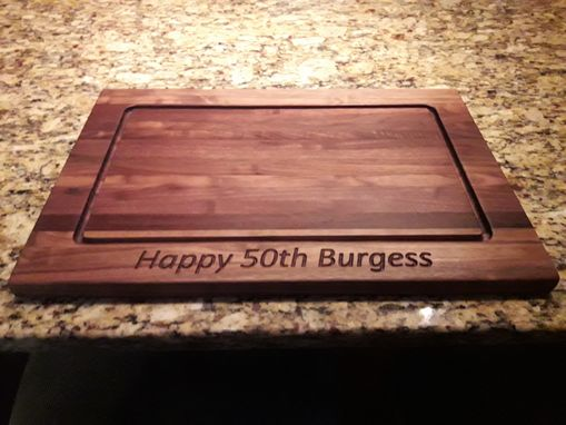 Custom Made Walnut Cutting Board With Carved Birthday Wishes And Initials