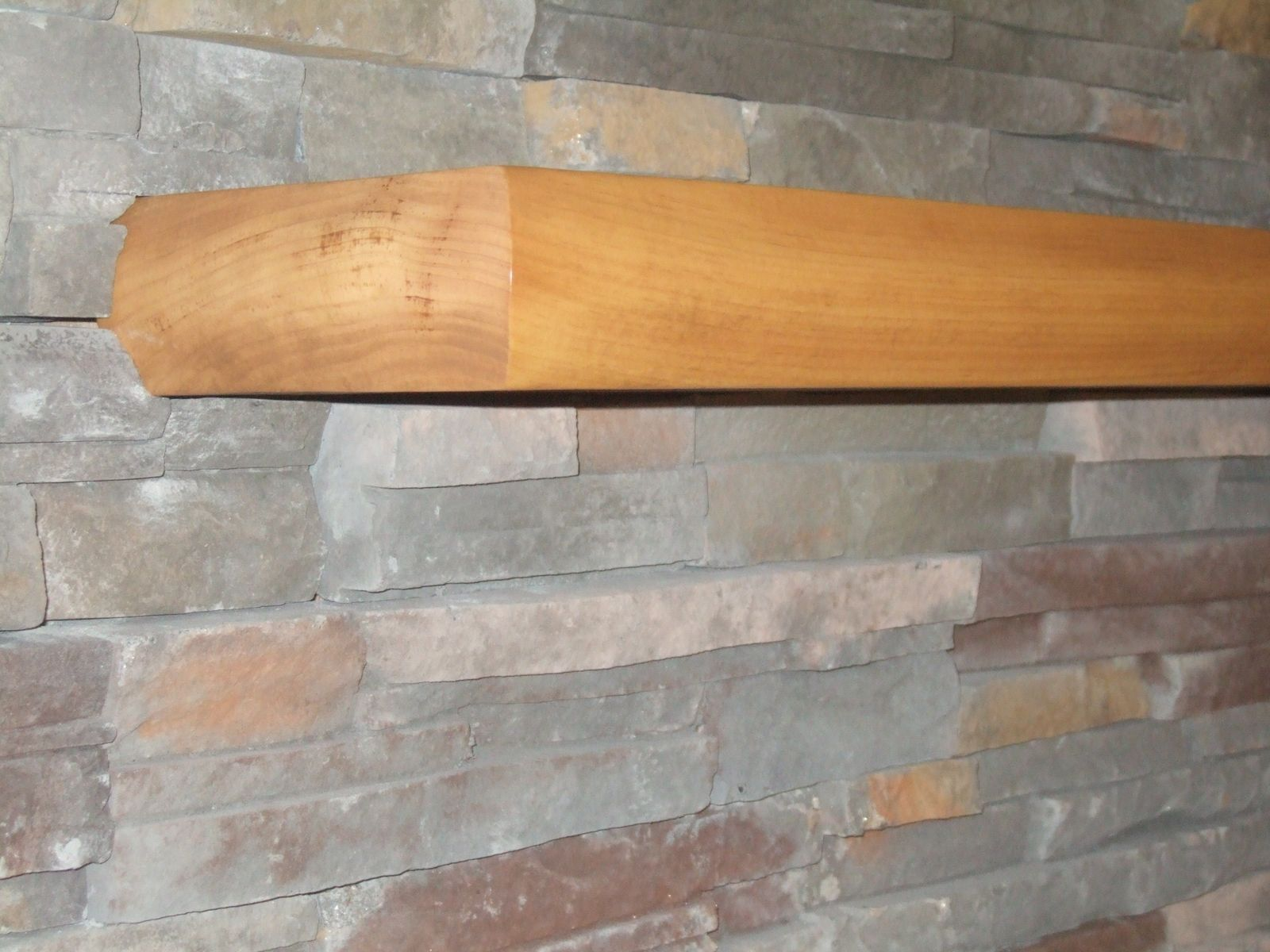 Handmade Mantel Solid Piece Of Wood With Fireplace Stone