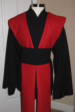 Custom Made Black Wool Gabardine,Red Pleather Tabards Sith,Jedi Tunic,Tabards & Sash/Obi