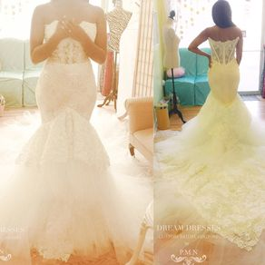Gorgeous Strapless Trumpet Wedding Gown With Four Layer Extended Long Train By Phuong Nguyen