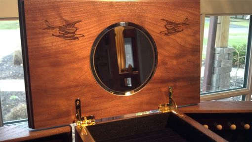 Custom Made Six Draw Jewelry Box With Plane Laser Engraved In Top