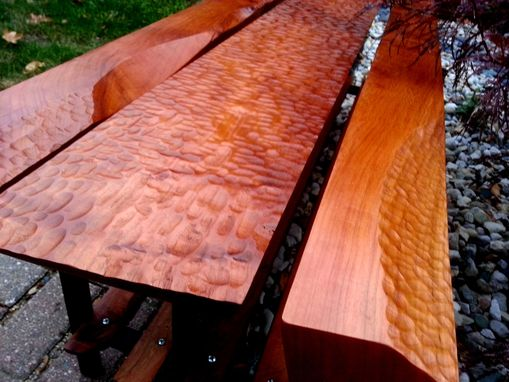 Custom Made Hand Carved Dimpled Solid Cherry Furniture. Bench, Stool, Mantle, Coffee And Dining Tables,
