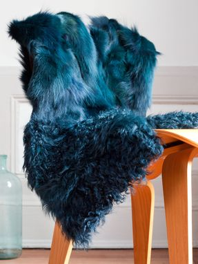 Custom Made Blue Fur Vest