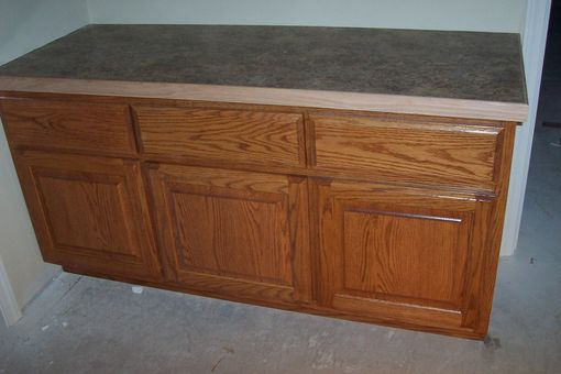 Custom Made Oak Bathroom Cabinet With Laminate Countertop