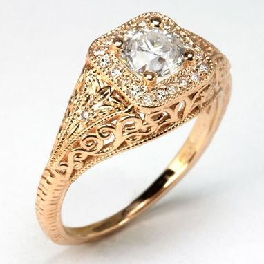Custom Made Vintage Antique Style Engagement Diamond Ring Rose Pink Gold