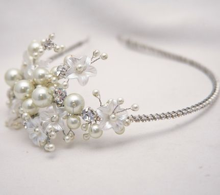 Custom Made Rhinestone Tiara With Flowers And Ivory Pearls, Wedding Tiara, Bridal Hair Accessory