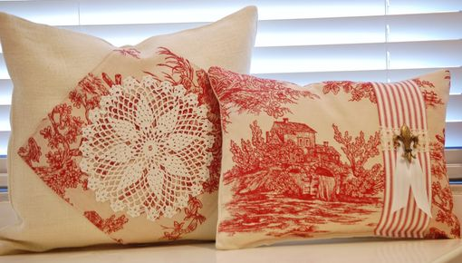 Custom Made Vintage Toile And Burlap In Red And Cream