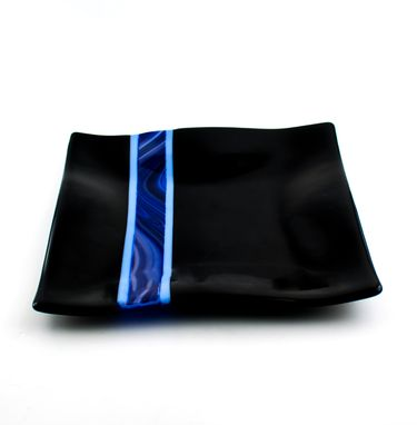 Custom Made Black And Blue Fused Glass Dinnerware Set, Square Plates