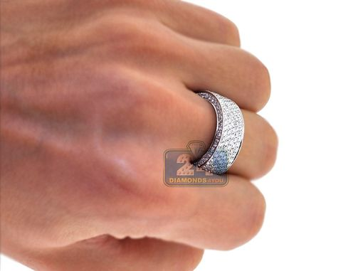 Custom Made 18k White Gold 2.51 Ct Diamond Mens Wedding Ring